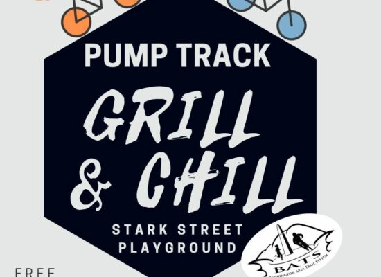 flyer with hexagon and text about Pump Track Grill and chill. 2 bicycles on the hexagon.