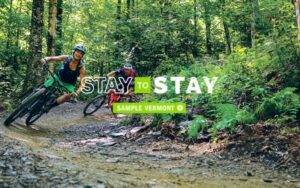 image of two people riding mountain bikes on a corner in the woods