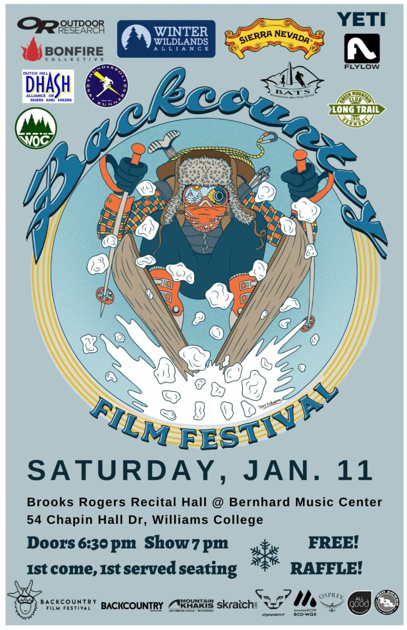 poster of skier and backcountry film fest information